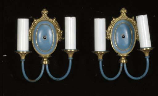 A SET OF FOUR BLUE PAINTED GILT-BRONZE WALL-LIGHTS,