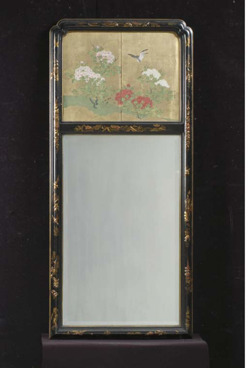 A PAIR OF PAINT DECORATED RED AND BLACK LACQUERED MIRRORS,