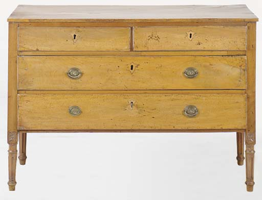 AN ITALIAN FRUITWOOD NEOCLASSICAL CHEST OF DRAWERS,