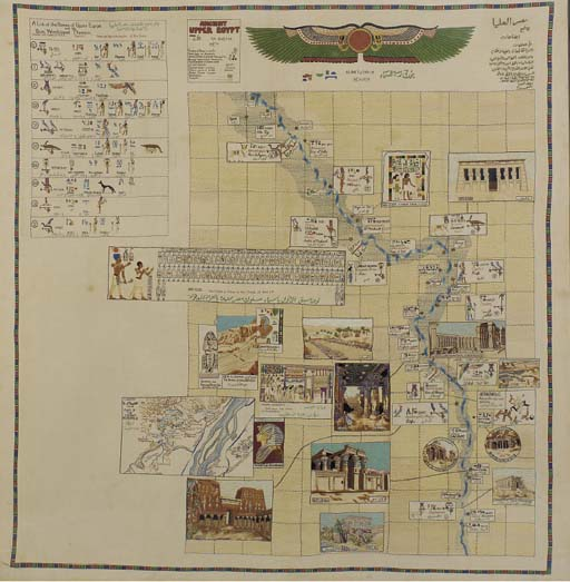 AN EMBROIDERED TAPESTRY DEPICTING UPPER EGYPT,