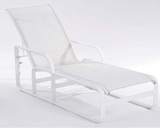 "A SET OF SIX WHITE PAINTED ""QUANTUM' ADJUSTABLE METAL LOUNGE CHAIRS,"