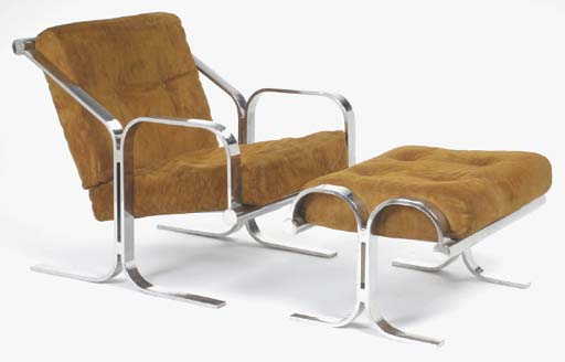 A CONTEMPORARY CHROMED METAL AND SUEDE UPHOLSTERED LOUNGE CHAIR AND OTTOMAN,