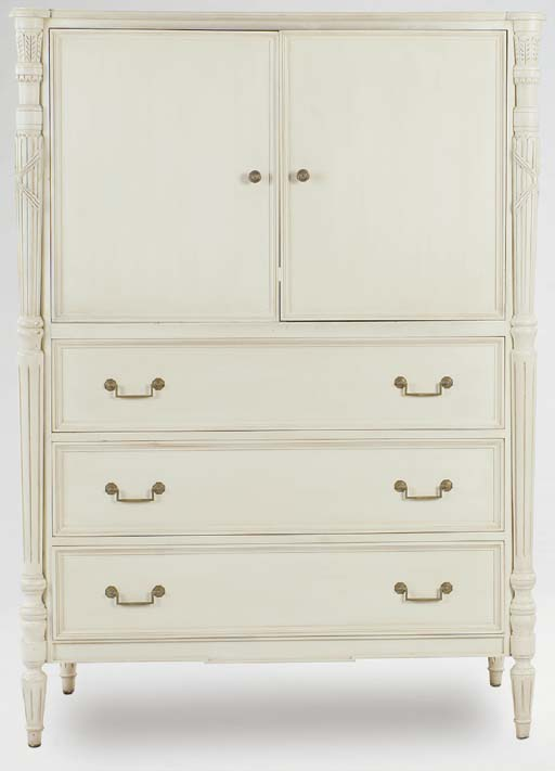 A WHITE PAINTED CABINET ON CHEST,