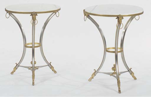 A PAIR OF LOUIS XVI STYLE GILT-METAL MOUNTED STEEL MARBLE TOPPED GUERIDONS,
