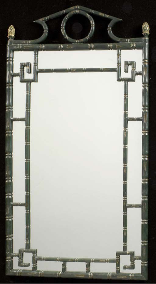 A FAUX BAMBOO GREEN AND GILT-DECORATED WALL MIRROR,