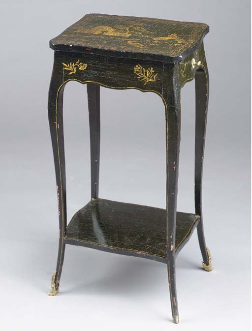 A LOUIS XV STYLE GILT AND BLACK LACQUERED TABLE EN CHIFFONNIER,