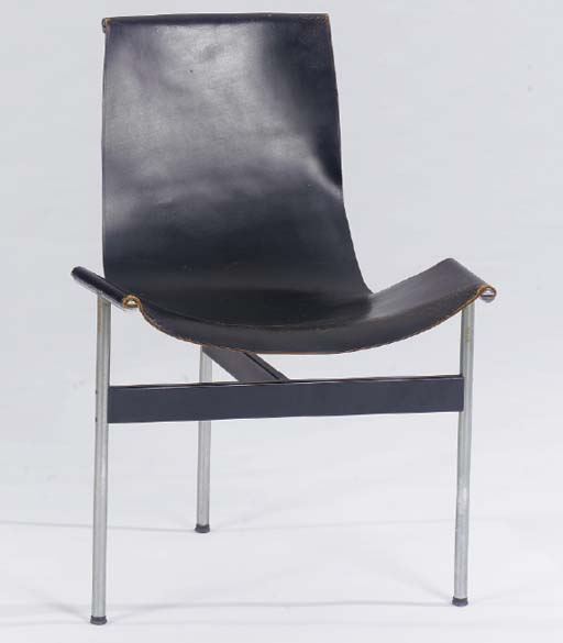 """A LEATHER AND AND STEEL """"T"""" CHAIR,"""