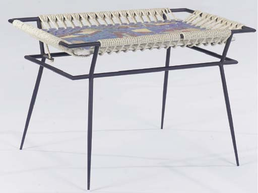 AN ITALIAN STEEL, TWINE AND PAINTED TILE TOPPED LOW TABLE,