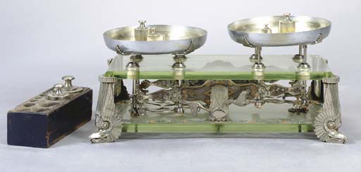 AN ART DECO STYLE CHROMED-METAL AND POLCHROME PAINT-DECORATED GLASS TABLE SCALE,