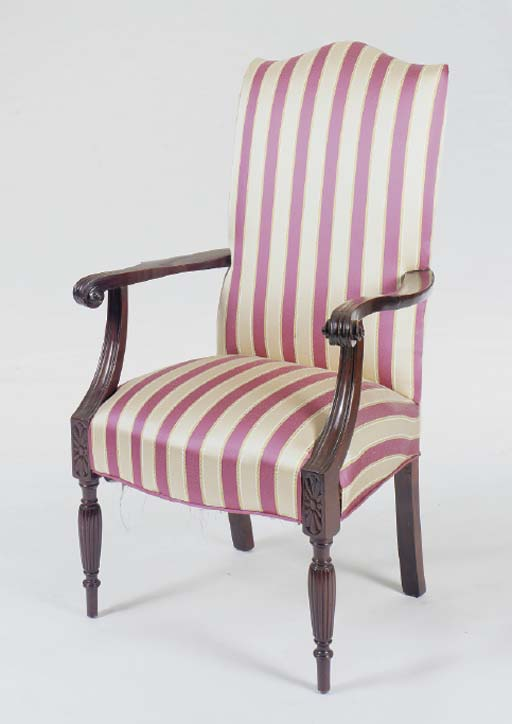 A MAHOGANY STRIPE UPHOLSTERED LOLLING CHAIR,