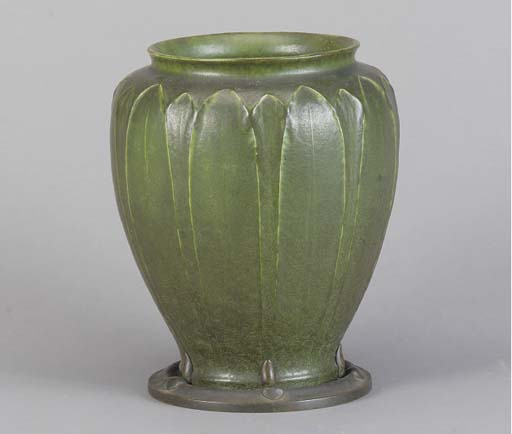 AN ART NOUVEAU EARTHENWARE BRONZE MOUNTED VASE,