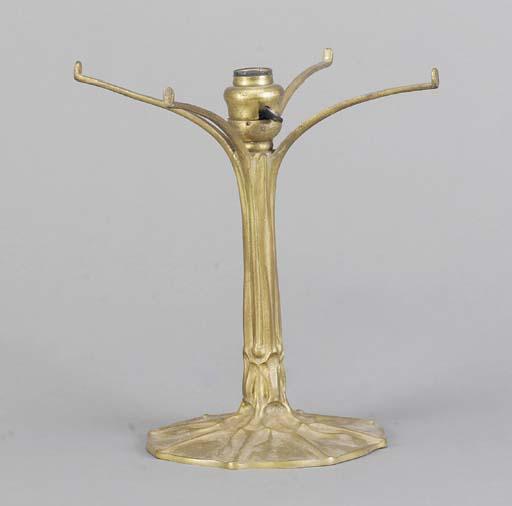 A TIFFANY STUDIOS GILT-BRONZE TABLE LAMP BASE,