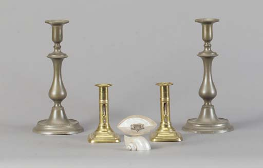 TWO PAIR OF BRASS CANDLESTICKS SIX METAL INKWELLS AND THREE METAL PENS,