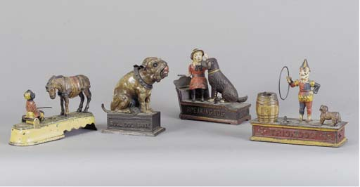 A GROUP OF FOUR PAINTED CAST- IRON MECHANICAL MONEY BOXES,