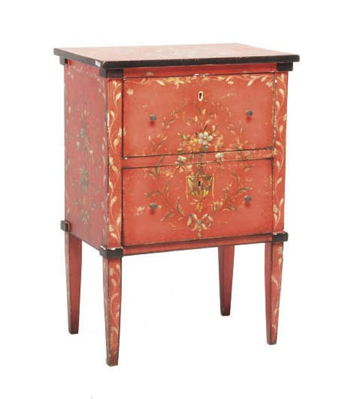 A NEOCLASSIC STYLE RED AND PAINT DECORATED BEDSIDE CABINET,