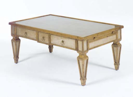 A CONTEMPORARY GILTWOOD AND GLASS DECORATED LOW TABLE,