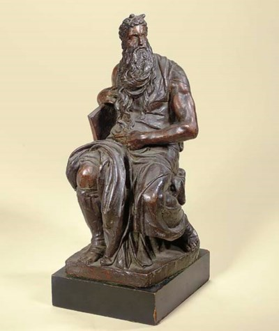 A BRONZE FIGURE OF MOSES