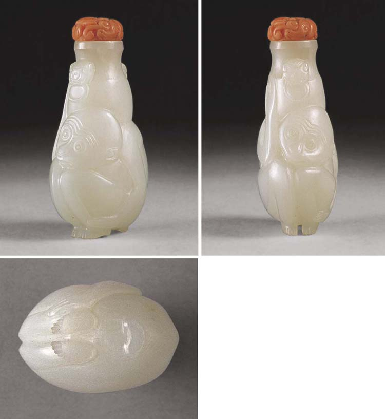 **A WELL-CARVED WHITE JADE SNU