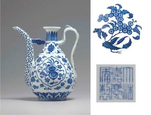 A RARE MING-STYLE BLUE AND WHI