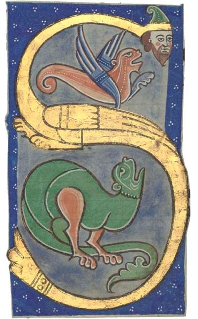 Historiated initial S, a cutti