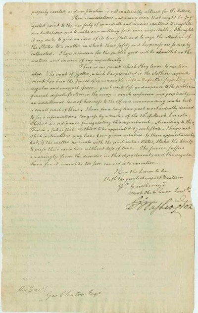 WASHINGTON, George. Letter sig