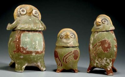 THREE MIXTEC POLYCHROME TERRAC
