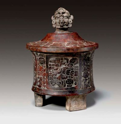 MAYAN LIDDED AND CARVED TRIPOD