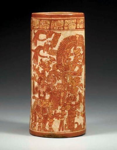 MAYAN PAINTED CYLINDER VESSEL