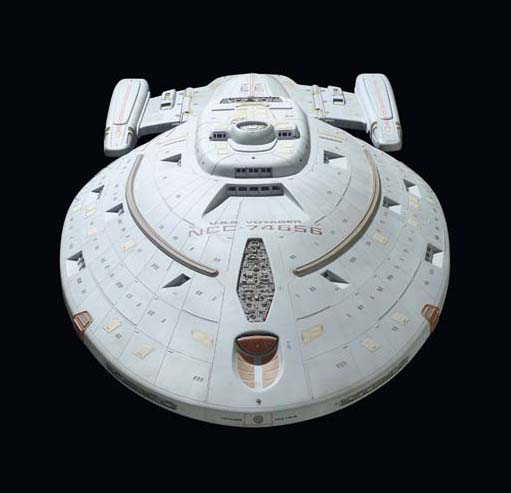 STARSHIP VOYAGER MINIATURE MODEL AND POWER SUPPLY