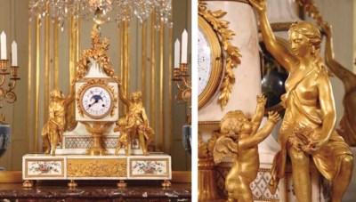 A LOUIS XVI ORMOLU WHITE-MARBL