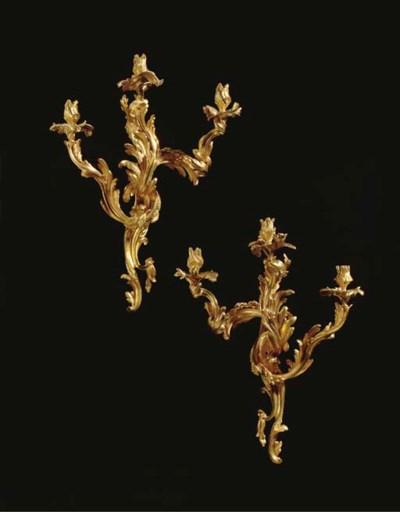 A PAIR OF FRENCH ORMOLU THREE-