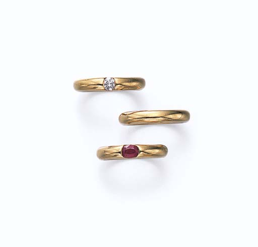 A SET OF DIAMOND, RUBY AND GOL