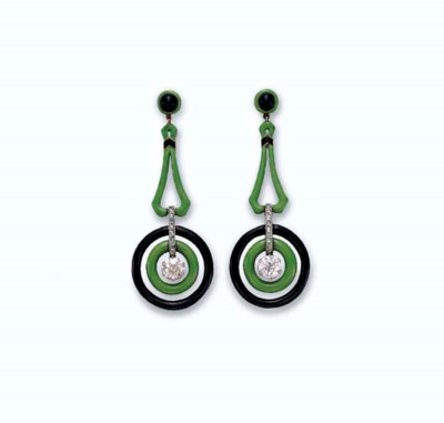 A PAIR OF ART DECO ENAMEL AND