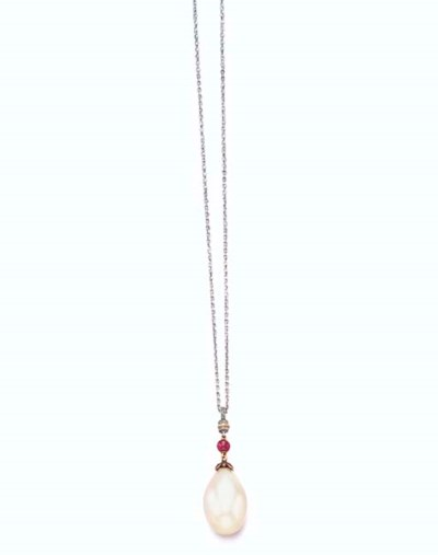 A PEARL, RUBY AND DIAMOND PEND
