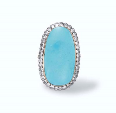 A TURQUOISE AND DIAMOND RING
