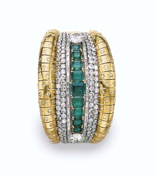 AN EMERALD, DIAMOND AND GOLD C