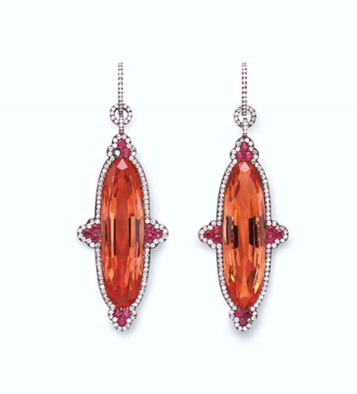 A PAIR OF TOPAZ, RUBY AND DIAM