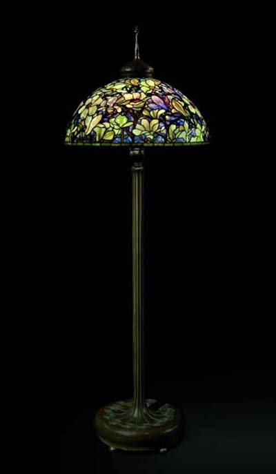 Tiffany Studios A Highly Important Magnolia Leaded Glass And Bronze Floor Lamp Circa 1920