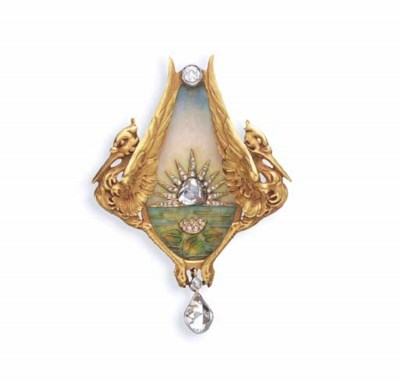 AN ART NOUVEAU DIAMOND, ENAMEL