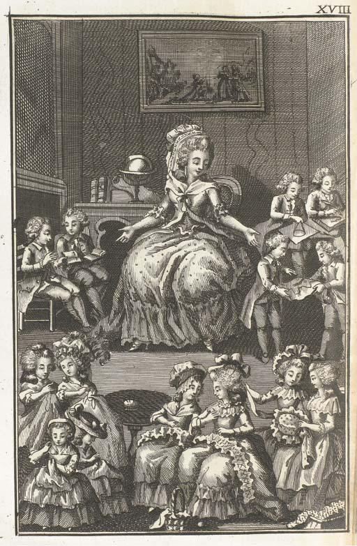 [RESTIF DE LA BRETONNE, Nicolas Edme (1734-1806)]. Les Parisiennes ou XL Caractères generaux Pris dans les Moeurs actuelles, Propres à servir à l'instruction des Personnes-de-Sexe: Tirés des memoires du nouveau Lycée-des-Moeurs.  A Neufchâtel, et se trouve à Paris: chès Guillot, 1787.