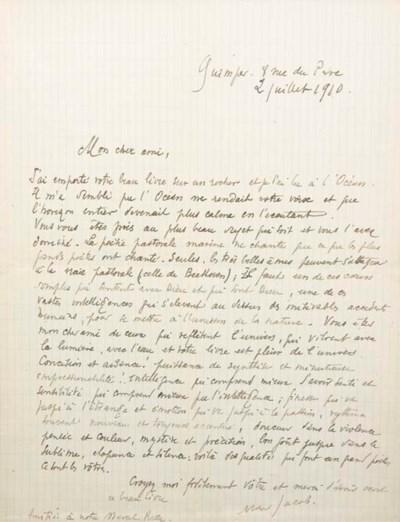 JACOB, Max (1876-1944). Lettre
