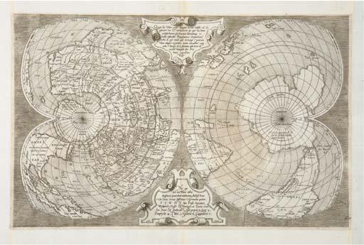 [MAPPEMONDE] -- SALAMANCA, Antonio. [Mappemonde en projection polaire, deux hémisphères en forme de double-coeur]. Rome: Antonio Salamanca, ca. 1550.