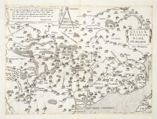 [BELGIQUE] -- BERTELLI, Ferando. Galliae Belgicae... Habes hic candide lector Galliam belgicam con suis regionibus opidis castellis fluminibus... Rome: Ferando Bertelli, 1565.