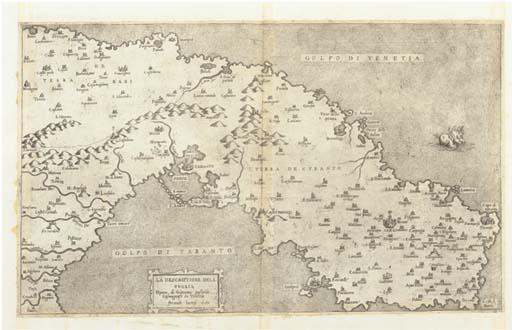 [APULIE] -- BERTELLI, Ferando. La Descriptione dela puglia Opera di Giacomo Gastaldo Cosmografo in Venetia. Venise: Ferando Bertelli, 1567.