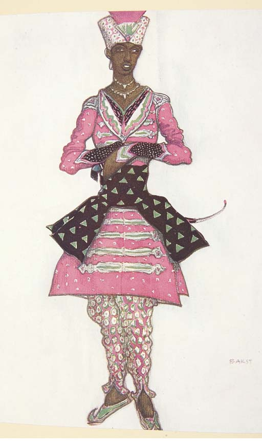 BAKST, Lev Samouilovitch Rosenberg, dit Léon (1866-1924). L'oeuvre de Léon Bakst pour la belle au bois dormant ballet en cinq actes d'après le conte de Perrault musique de Tchaïkovsky. Paris : Brunoff, 1922.