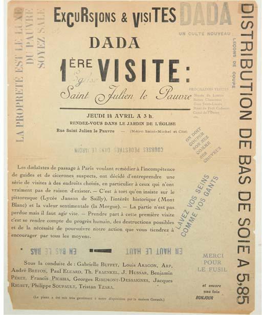 [DADA] -- Excursions et visites dada. 1ère visite: Eglise Saint Julien le Pauvre. Jeudi 14 avril à 3h. Affiche. [Paris: 1921].