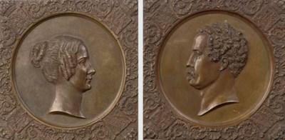 A pair of German bronze portra