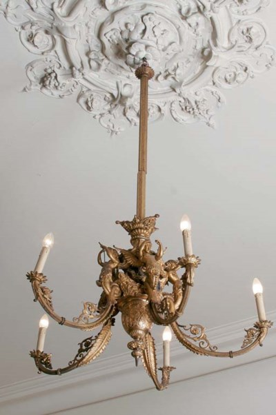 A FRENCH GILT-METAL FIVE-LIGHT
