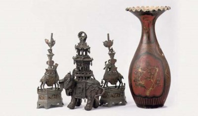 A PAIR OF CHINESE PEWTER CANDL