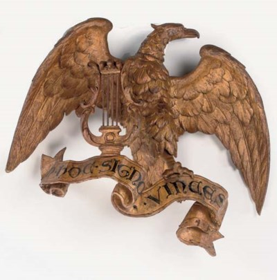 A CARVED GILTWOOD EAGLE